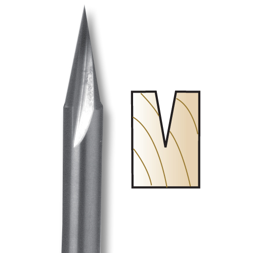 WHITESIDE #SC50 22 DEGREE CARVING LINER BIT - 1/4 SH X 1/4 CD X 5/8 PL