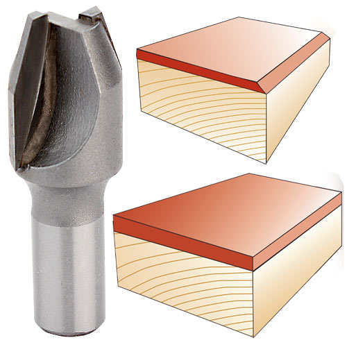 WHITESIDE #2800 COMBINATION FLUSH TRIM OR BEVEL LAMINATE TRIM BIT - 1/4 SH X 7/16 CD X 22-1/2 DEG