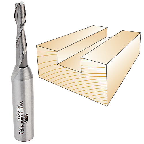 Whiteside RU4700 Spiral Up Cut Router Bit, 1/2-Inch Shank x 1/4-Inch CD x 1-Inch CL