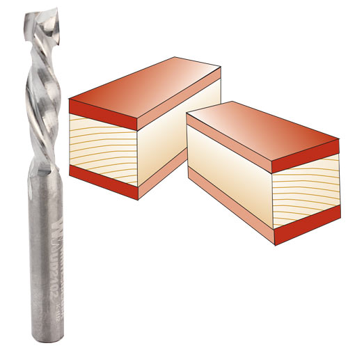 Whiteside UD2102 Spiral Up / Down Cut Router Bit, 1/4-Inch Shank x 1/4-Inch CD x 1-Inch CL