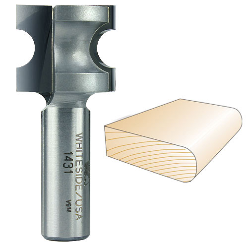 Whiteside 1431 Bull Nose Router Bit, 1/2-Inch SH x 3/16-Inch R x 3/8-Inch CD