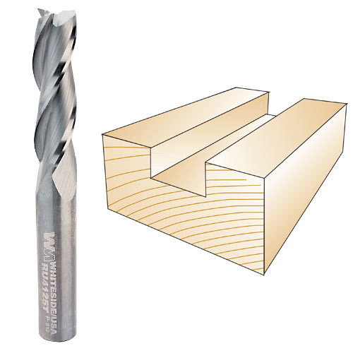 Whiteside #RU4125T Three Flute Spiral Up Cut Bit - 3/8 Inch SH X 3/8 Inch CD X 1-1/4 Inch CL