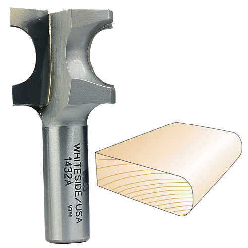 Whiteside 1432A Bull Nose Router Bit, 1/2-Inch SH x 5/16-Inch R x 5/8-Inch CD