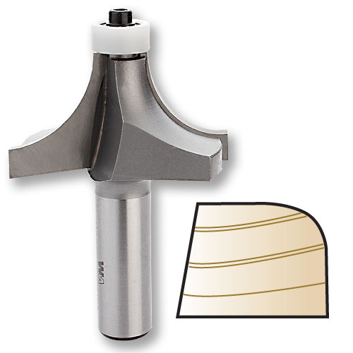 Whiteside 2010N Round Over Router Bit w/Non-Marring Bearing, 1/2-Inch SH x 3/4-Inch R