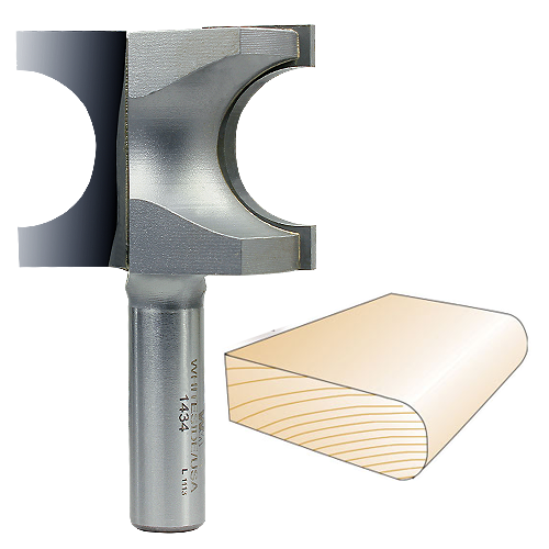 Whiteside 1434 Bull Nose Router Bit, 1/2-Inch SH x 1/2-Inch R x 1-Inch CD