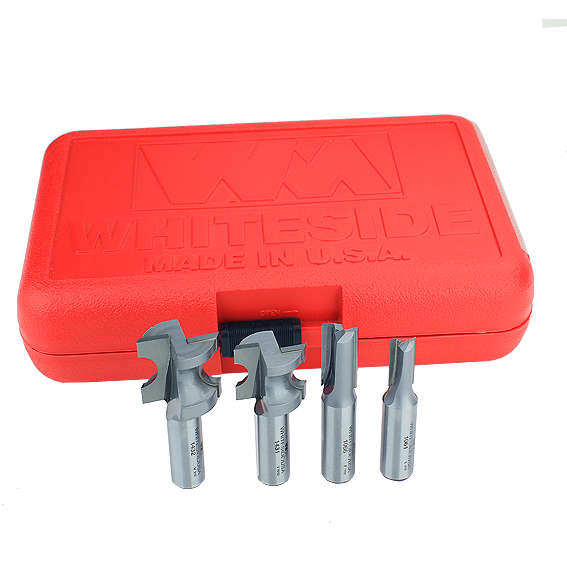 WHITESIDE #601 4 PC  SMALL  INCRA HINGECRAFTER SET -1/2 INCH SHANK