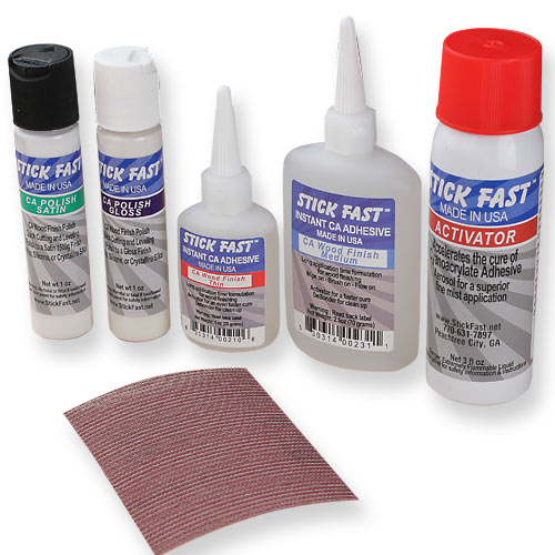 Stick Fast CA Wood Finish & Polish Starter Kit