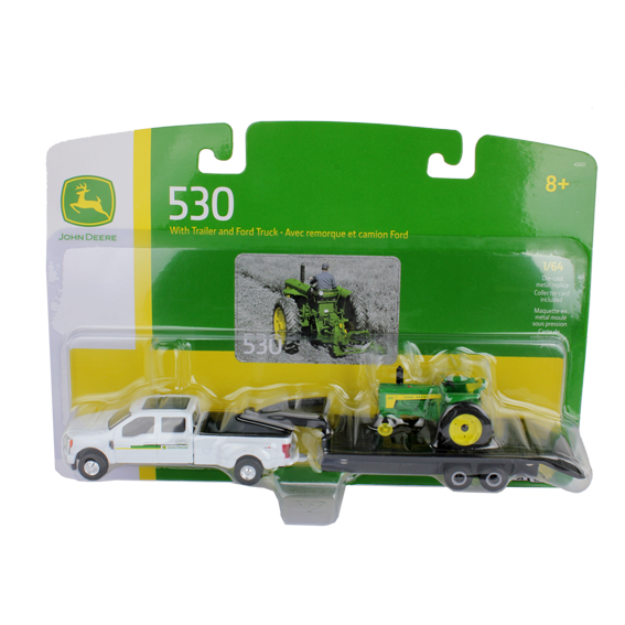 Ertl John Deere 1:64 Scale Model 530 Tractor with Ford F350 and Trailer Set