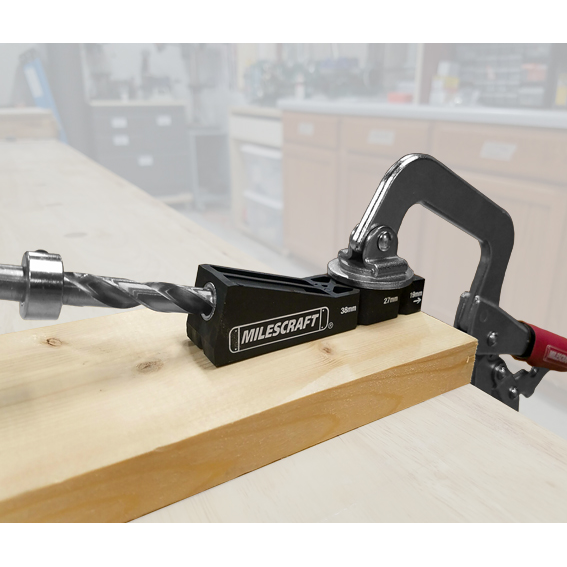 MILESCRAFT #1321 POCKETJIG100 POCKET HOLE DRILLING JIG - IN USE