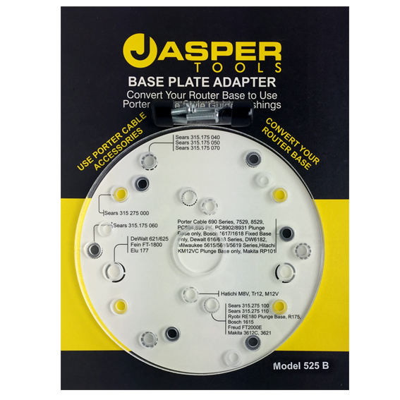 Jasper Tools #575 Router Adapter Base Plate w/Centering Pin - In Package
