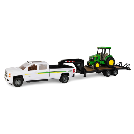 Tomy Big Farm John Deere 1:16 Scale 4066R Tractor With Trailer & Chevy 3500 Pick-Up Truck