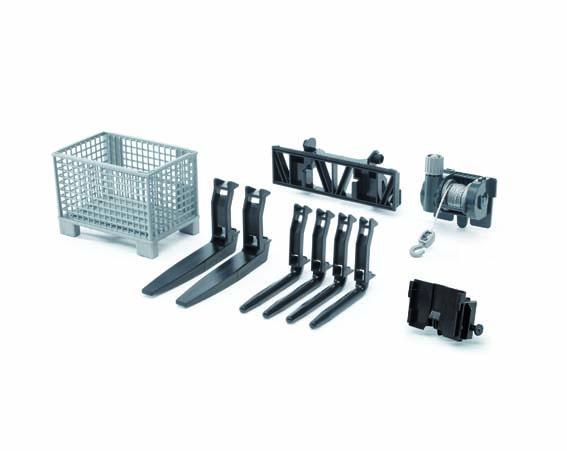 Bruder #02318 1:16 Scale Cable Winch & Front-Loader Fork Set