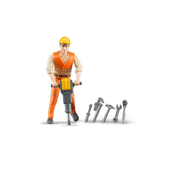 Bruder #60020 1:16 Scale Construction Worker with Accessories