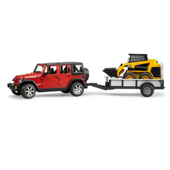 Bruder #02925 1:16 Scale Jeep Wrangler Unlimited Rubicon with CAT Skid Loader & Trailer