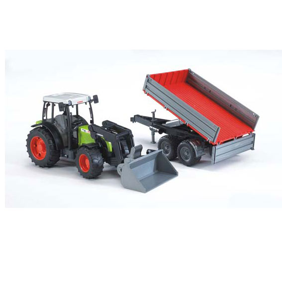Bruder #02112 1:16 Scale Claas Nectis 267 F Tractor with Frontloader & Tilting Trailer