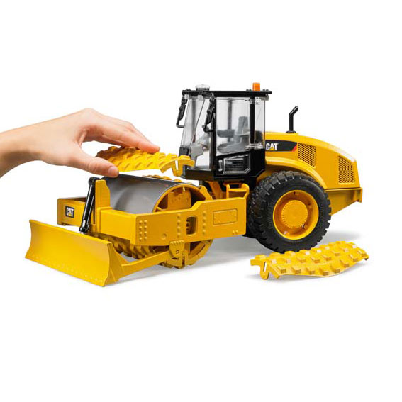 Bruder #02451 1:16 Scale CAT Vibratory Soil Compactor with Leveling Blade