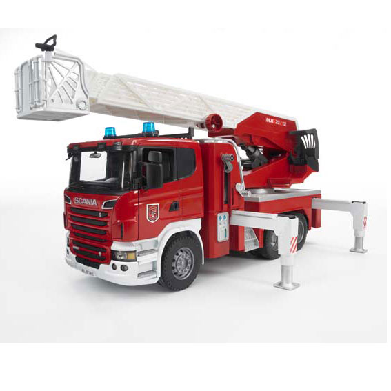 Bruder #023590 1:16 Scale Scania R-Series Fire Engine with Telescoping Ladder, Water Pump, plus Light & Sound Module