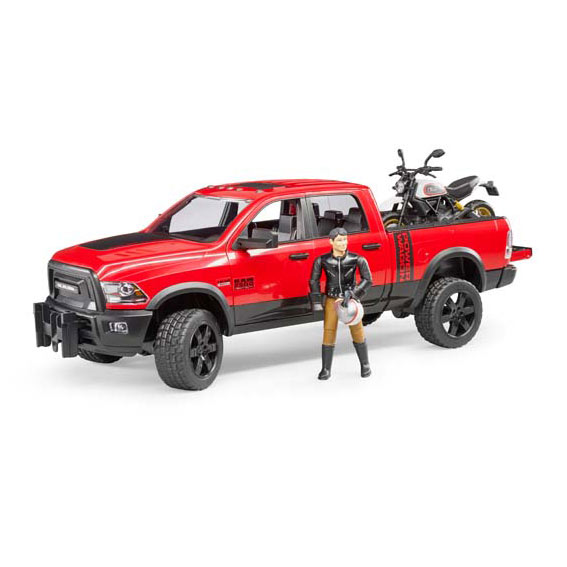 Bruder #02502 1:16 Scale RAM 2500 Power Wagon with Ducati Desert Sled Motorcycle & Rider
