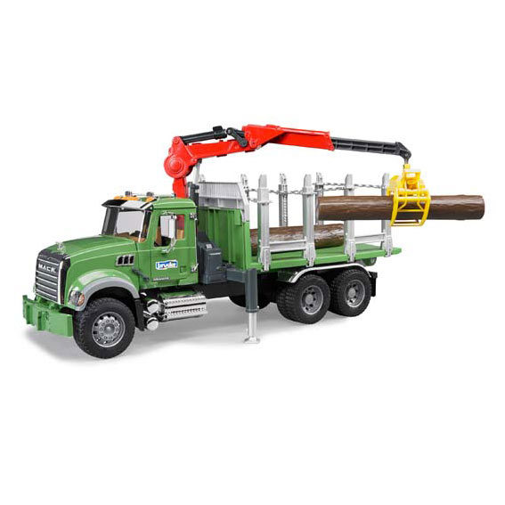 Bruder #02824 1:16 Scale MACK Granite Timber Truck with Loading Crane & Logs