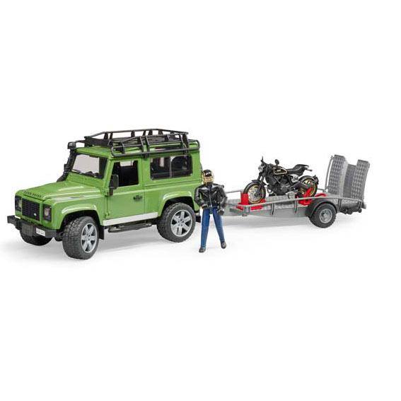 Bruder 02598 Land Rover Defender Station Wagon with Trailer, Ducati Scrambler Cafe Racer Motorcycle & Rider