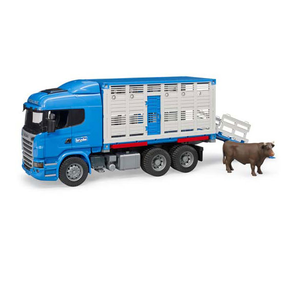 Bruder #03549 1:16 Scale Scania R-Series Cattle Transportation Truck with Cow