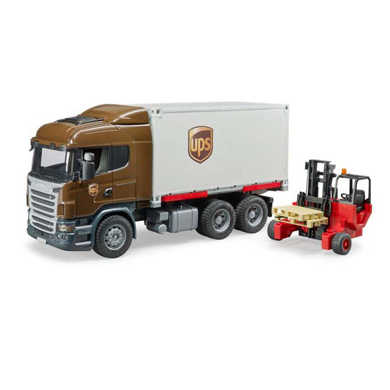 Bruder #02828 1:16 Scale Scania R-Series UPS Logistics Truck with Forklift