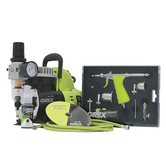Grex GCK02 Tritium TS3 Combo Kit - Dual Action Pistol Style Side Gravity Airbrush & Compressor