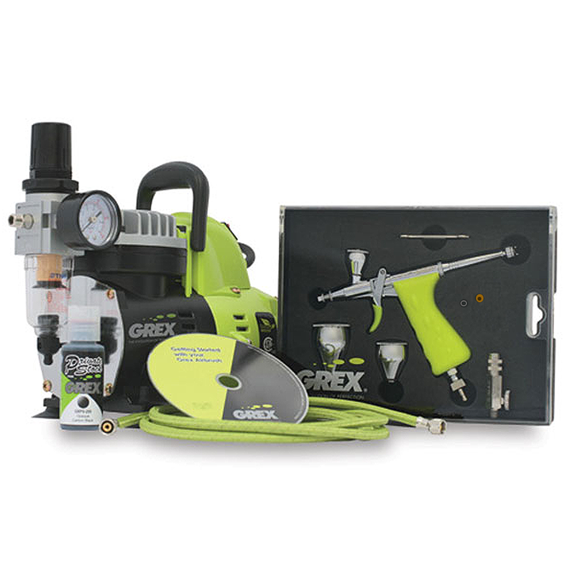 Grex GCK03 Tritium.TG3 Combo Kit - Dual Action Pistol Style Top Gravity Airbrush & Compressor