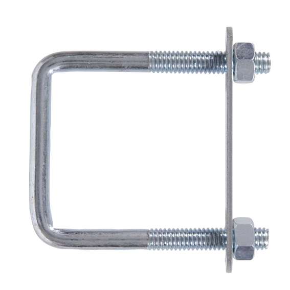 Hillman 320898 3/8-16 x 3 x 4 Zinc Plate Steel Square U-Bolts with Hex Nuts - 5 Pk.