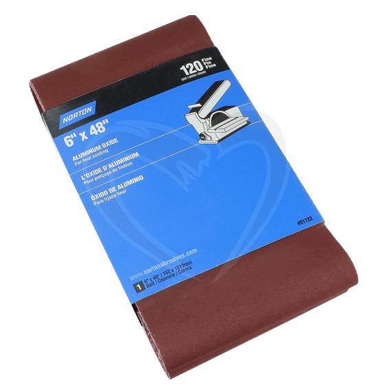 Norton Aluminum Oxide Sanding Belt - 6 X 48 X 120 Grit