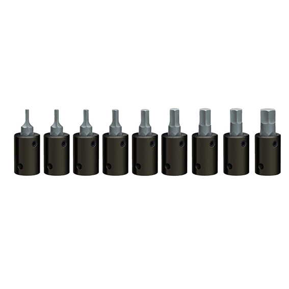 Wright Tool #363 3/8 Drive 9 Pc. Hex Bit Metric Impact Socket Set - 2mm to 10mm
