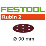 FESTOOL  499078 RUBIN 2 P60 DISC ABRASIVES - 90MM - 50 PK.