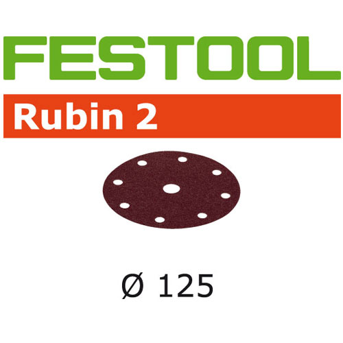 FESTOOL RUBIN 2 P60 DISC ABRASIVES - 125MM - 50 PK