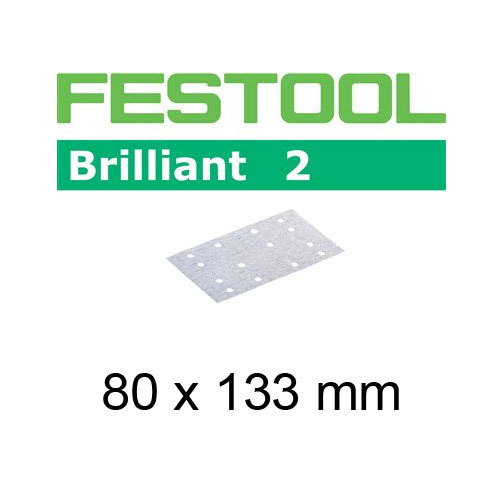 FESTOOL BRILLIANT 2 P180 SHEET ABRASIVES - 80 X 133MM - 10 PK