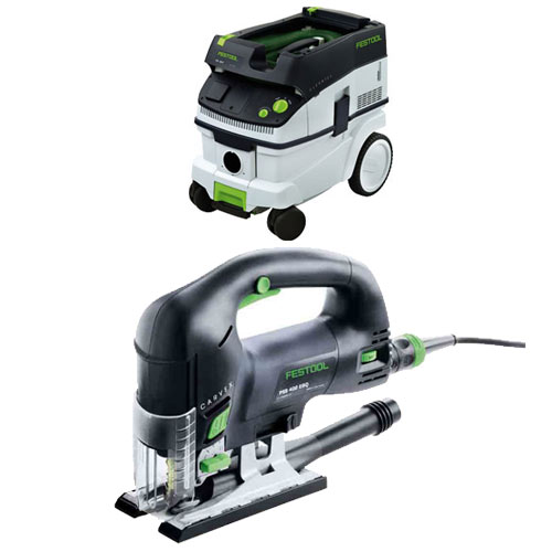 FESTOOL PSB 420 EBQ CARVEX D-HANDLE JIGSAW & CT 26 E EXTRACTOR PACKAGE