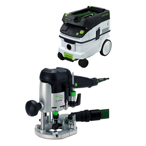 FESTOOL OF 1010 EQ ROUTER IMPERIAL & CT 26 E EXTRACTOR PACKAGE