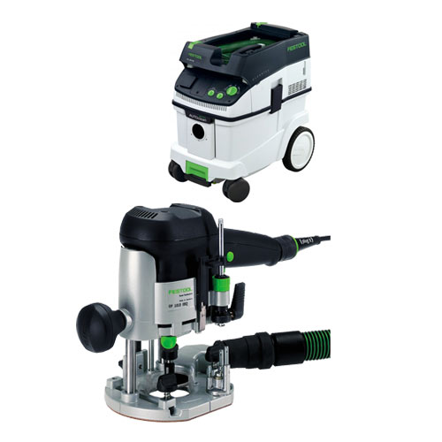 FESTOOL OF 1010 EQ ROUTER IMPERIAL & CT 36 E EXTRACTOR PACKAGE