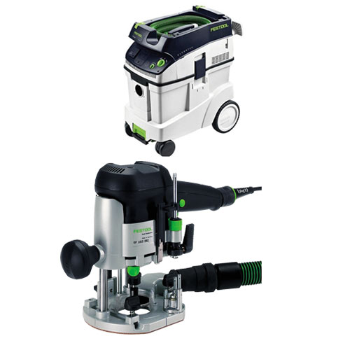 FESTOOL OF 1010 EQ ROUTER IMPERIAL & CT 48 E EXTRACTOR PACKAGE