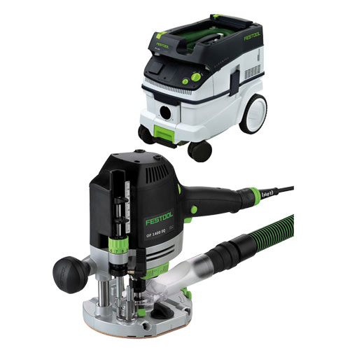 FESTOOL OF 1400 EQ ROUTER IMPERIAL & CT 26 E EXTRACTOR PACKAGE