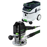 FESTOOL OF 1400 EQ ROUTER IMPERIAL & CT 36 E EXTRACTOR PACKAGE