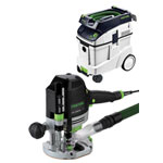 FESTOOL OF 1400 EQ ROUTER IMPERIAL & CT 48 E EXTRACTOR PACKAGE