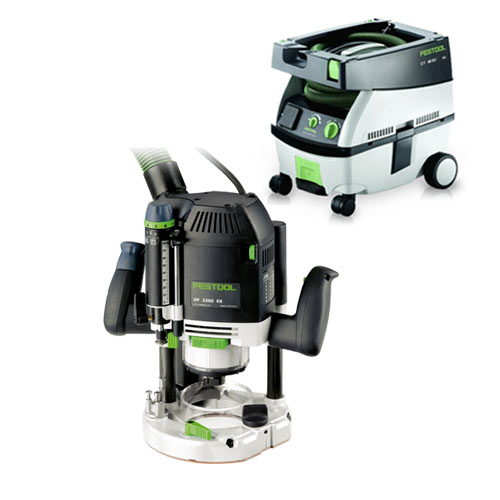 FESTOOL OF 2200 EB ROUTER IMPERIAL & CT MINI EXTRACTOR PACKAGE