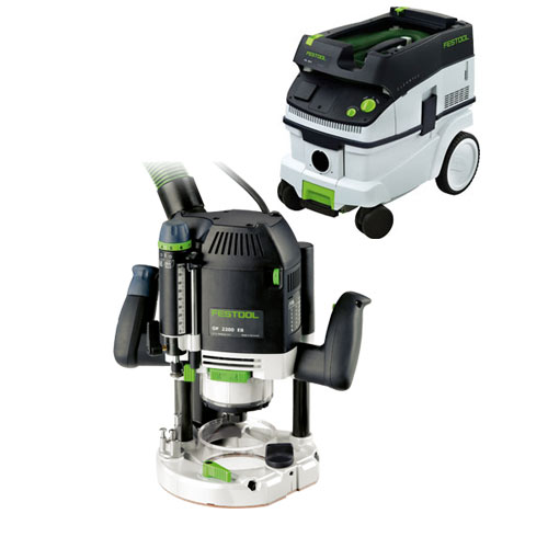 FESTOOL OF 2200 EB ROUTER IMPERIAL & CT 26 E EXTRACTOR PACKAGE