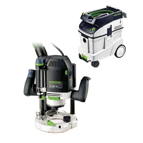 FESTOOL OF 2200 EB ROUTER IMPERIAL & CT 48 E EXTRACTOR PACKAGE