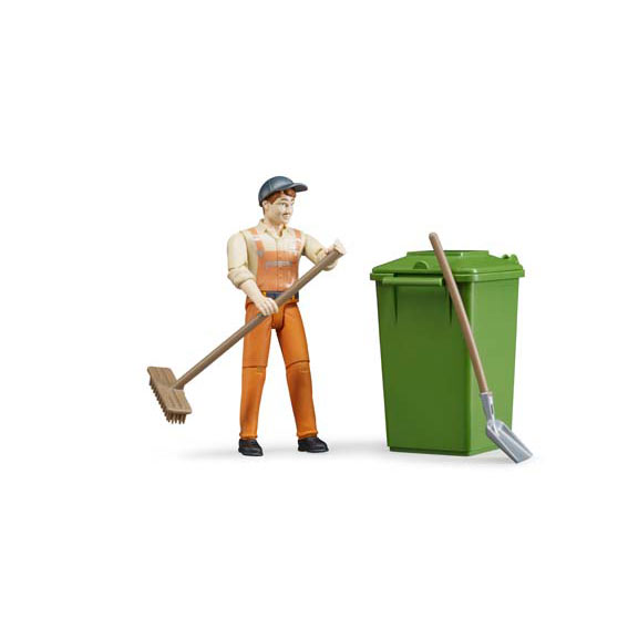Bruder Sanitation Worker w/Accessories Action Figure, #62140