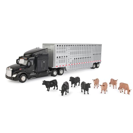 Tomy 579 Peterbilt Semi Truck w/Cattle Trailer & Cows