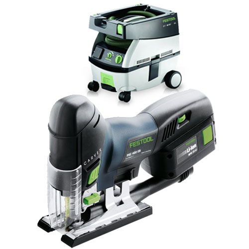 FESTOOL PSC 420 EB CARVEX CORDLESS BARREL GRIP JIGSAW & CT MINI EXTRACTOR PACKAGE