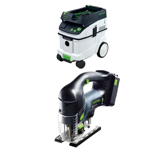 FESTOOL PSBC 420 EB CARVEX CORDLESS D-HANDLE JIGSAW & CT 36 E EXTRACTOR PACKAGE