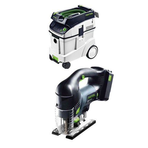 FESTOOL PSBC 420 EB CARVEX CORDLESS D-HANDLE JIGSAW & CT 48 E EXTRACTOR PACKAGE