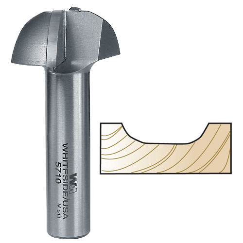 WHITESIDE #5710 COVE PANEL PROFILE BIT FOR MDF DOORS - 1/2 INCH SH X 1-1/2 INCH LD